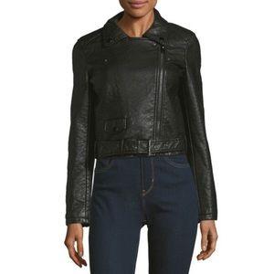 Joe's Black Vegan Leather Textured Moto Jacket NWT